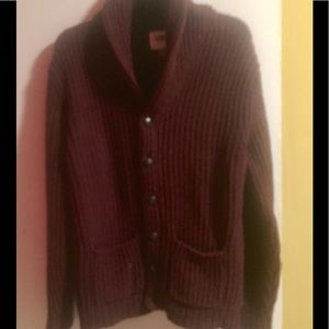 Men's Old Navy Cardigan L Grandfather sweater wine